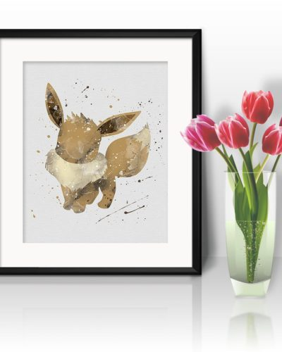 Eevee Watercolor Print, Eevee Art, Pokemon Eevee, Pokemon Painting, Anime Art, Nursery, Kids Room Decor, Wall Art