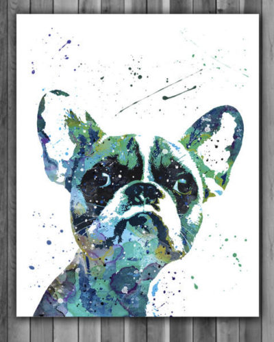 French Bulldog Watercolor Print, French Bulldog Art, French Bulldog Painting, Animal Art, Nursery, Kids Room Decor, Wall Art