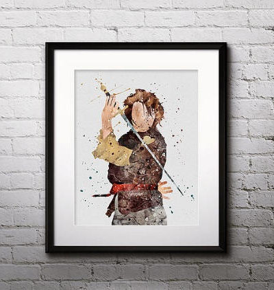 Game of Thrones Watercolor Print, Arya Stark, Arya Painting, Nursery, Kids Room Decor, Wall Art