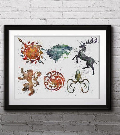 Game of Thrones Watercolor Print, Game of Thrones Houses Art, Game of Thrones Insignia Art, Nursery, Kids Room Decor, Wall Art