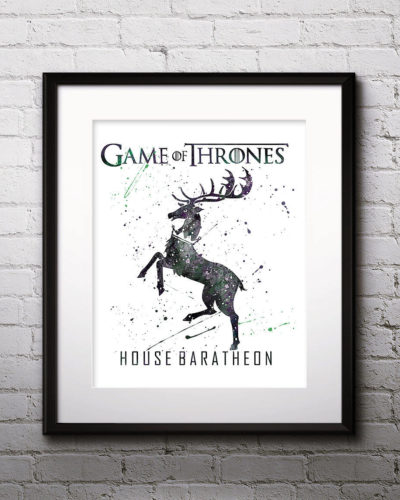 Game of Thrones Watercolor Print, House Baratheon, Game of Thrones Insignia Art, Baratheon Painting, Nursery, Kids Room Decor, Wall Art