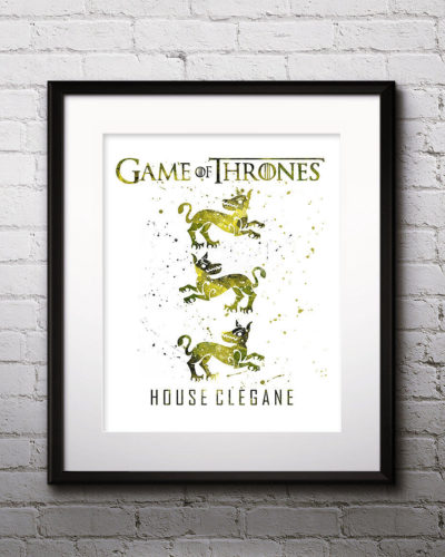 Game of Thrones Watercolor Print, House Clegane, Game of Thrones Insignia Art, Clegane Painting, Nursery, Kids Room Decor, Wall Art