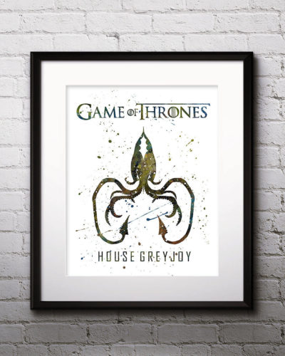 Game of Thrones Watercolor Print, House Greyjoy, Game of Thrones Insignia Art, Greyjoy Painting, Nursery, Kids Room Decor, Wall Art