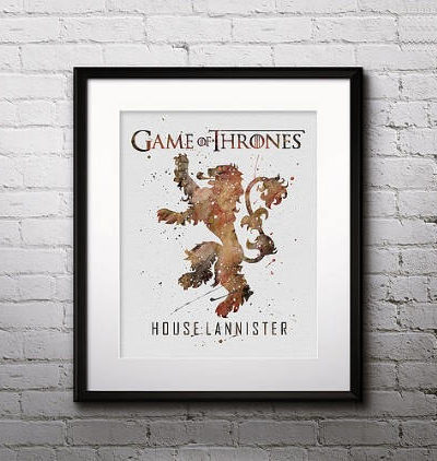 Game of Thrones Watercolor Print, House Lannister, Game of Thrones Insignia Art, Nursery, Kids Room Decor, Wall Art