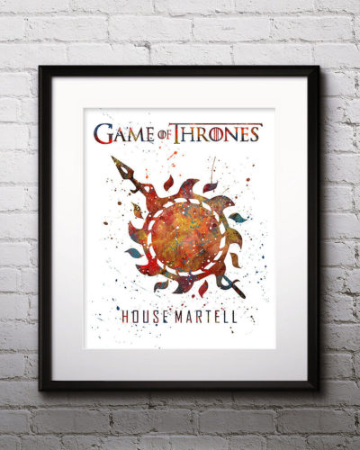 Game of Thrones Watercolor Print, House Martell, Game of Thrones Insignia Art, Martell Painting, Nursery, Kids Room Decor, Wall Art