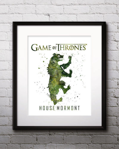 Game of Thrones Watercolor Print, House Mormont, Game of Thrones Insignia Art, Mormont Painting, Nursery, Kids Room Decor, Wall Art