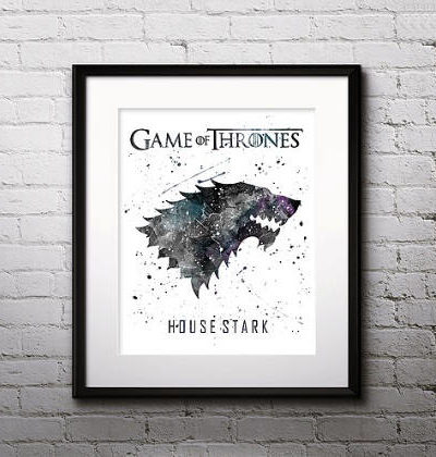 Game of Thrones Watercolor Print, House Stark, Game of Thrones Insignia Art, Nursery, Kids Room Decor, Wall Art