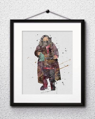 Hagrid Watercolor Print, Harry Potter Art, Harry Potter Painting, Harry Potter Painting, Nursery, Kids Room Decor, Wall Art