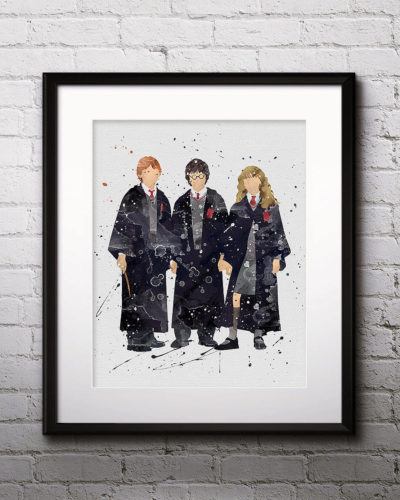 Harry Potter Hermione & Ron Watercolor Print, Harry Potter Art, Harry Potter Painting, Nursery, Kids Room Decor, Wall Art
