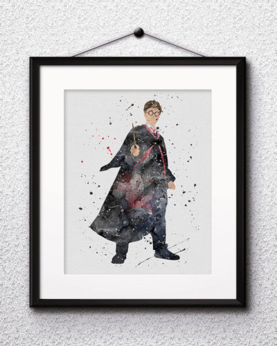 Harry Potter Watercolor Print, Harry Potter Art, Harry Potter Painting, Harry Potter Painting, Nursery, Kids Room Decor, Wall Art