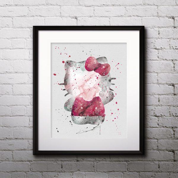 Hello Kitty Print, Cat Art, Cat Painting, Hello Kitty Art, Hello Kitty painting, Animal Art, Nursery, Kids Room Decor, Wall Art