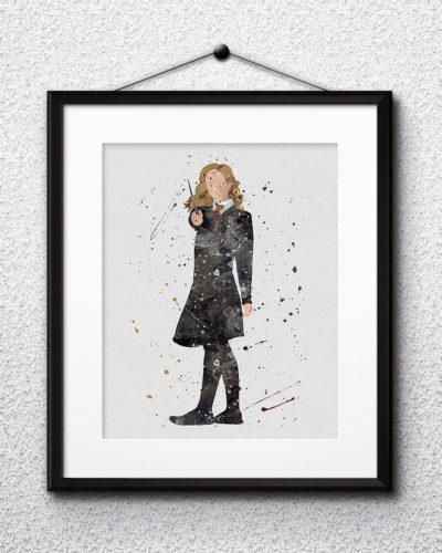 Hermione Granger Watercolor Print, Harry Potter Art, Harry Potter Painting, Harry Potter Painting, Nursery, Kids Room Decor, Wall Art