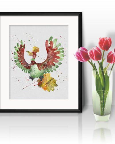 Ho-Oh Watercolor Print, Ho-Oh Art, Pokemon Ho-Oh, Pokemon Painting, Anime Art, Nursery, Kids Room Decor, Wall Art