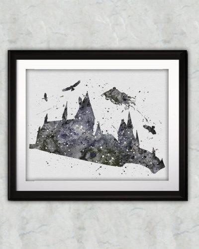 Hogwarts Castle Watercolor Print, Harry Potter Art, Harry Potter Painting, Harry Potter Painting, Nursery, Kids Room Decor, Wall Art