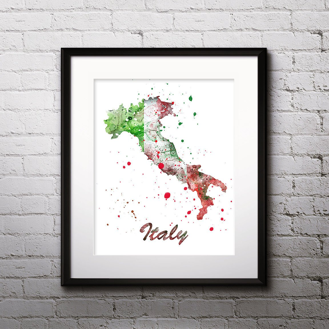 Italy Map Wall Art.Italy Map Watercolor Print Italy Map Art Italy Map Painting Italy