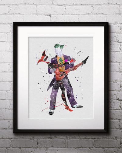 Joker and Harley Quinn Watercolor Print, Joker Art, Harley Quinn Art, DC Comics Art, Superhero art, Nursery, Kids Room Decor, Wall Art