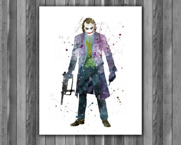 Joker Watercolor Print, Joker Art, Joker Painting, DC Comics Art, Superhero art, Nursery, Kids Room Decor, Wall Art