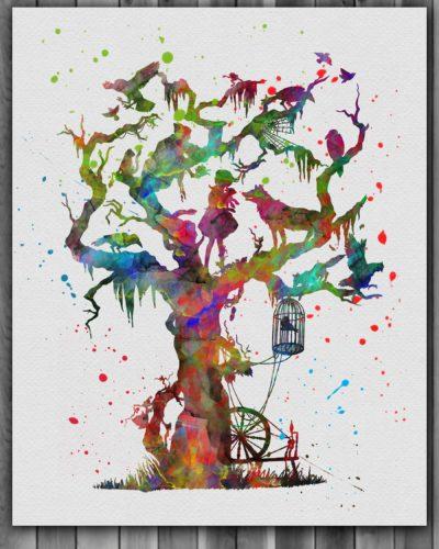 Juniper Tree Watercolor Print, Grimm Brothers Print, Juniper Tree Painting, Animal Art, Nursery, Kids Room Decor, Wall Art