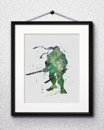 Leonardo Watercolor Print, Teenage Mutant Ninja Turtles Art, Leonardo Painting, Ninja Painting, Nursery, Kids Room Decor, Wall Art