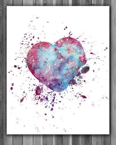 Love Heart Watercolor Print, Love Print, Heart Painting, Love Art, Nursery, Kids Room Decor, Wall Art
