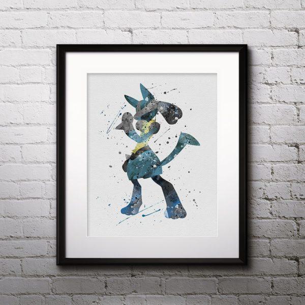 Lucario Watercolor Print, Lucario Art, Pokemon Lucario, Pokemon Painting, Anime Art, Nursery, Kids Room Decor, Wall Art