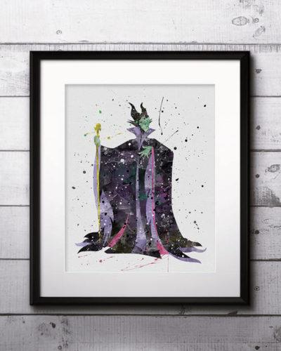 Maleficent Watercolor Print, Maleficent Disney Art, Princess Art, Sleeping Beauty, Disney Art, Nursery, Kids Room Decor, Wall Art