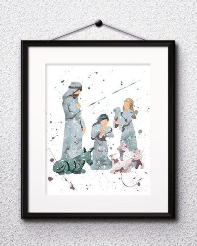 Manger Scene Watercolor Print, Nativity Scene, Christmas Painting, Christmas Art, Nursery, Kids Room Decor, Wall Art