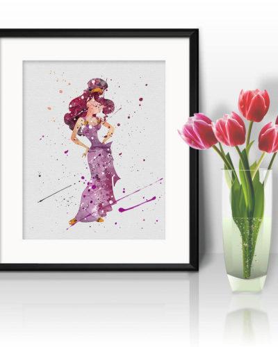 Megara Watercolor Print, Megara Disney Art, Megara Painting, Princess Art, Disney Art, Nursery, Kids Room Decor, Wall Art