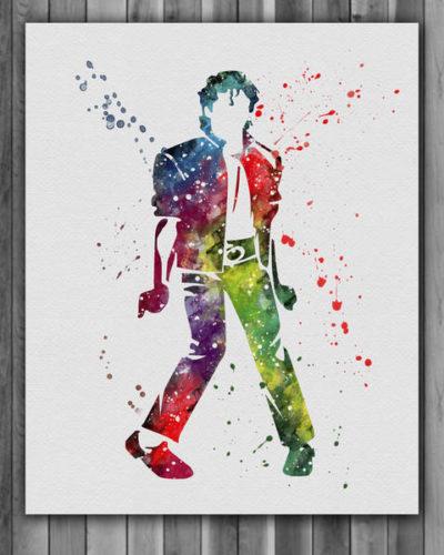 Michael Jackson Watercolor Print 2, Michael Jackson Art, Michael Jackson Poster, Nursery, Kids Room Decor, Wall Art