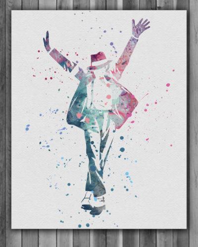 Michael Jackson Watercolor Print, Michael Jackson Art, Michael Jackson Poster, Nursery, Kids Room Decor, Wall Art