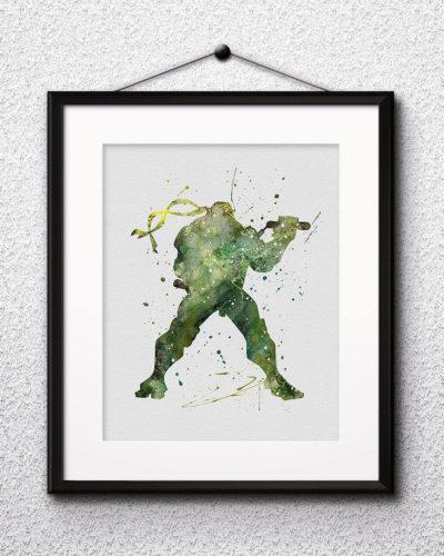 Michelangelo Watercolor Print, Teenage Mutant Ninja Turtles Art, Michelangelo Painting, Ninja Painting, Nursery, Kids Room Decor, Wall Art