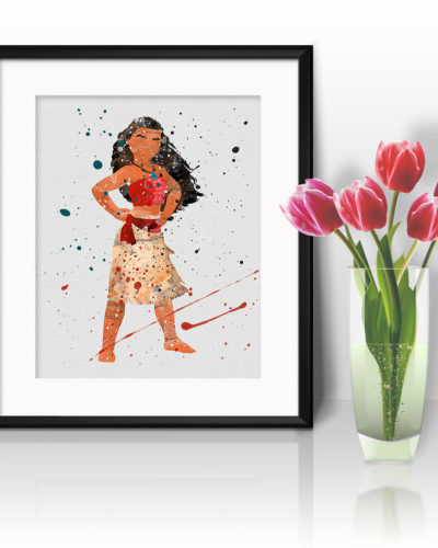 Moana Watercolor Print, Moana Disney Art, Moana Painting, Princess Art, Disney Art, Nursery, Kids Room Decor, Wall Art