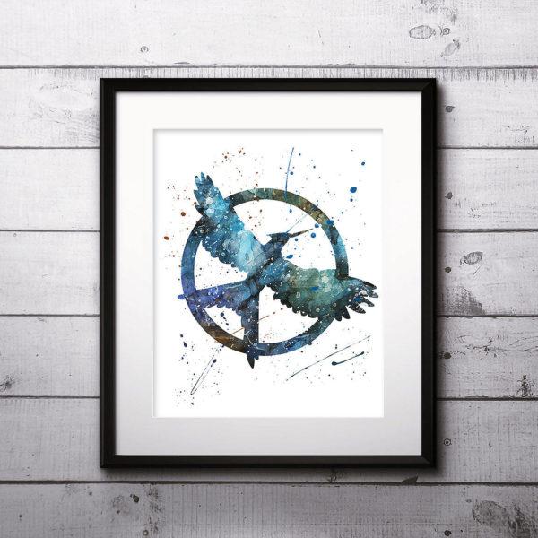 Mockingjay Watercolor Print, Katniss Everdeen Art, Hunger Games Art, Bowwoman, Mockingjay art, Nursery, Kids Room Decor, Wall Art