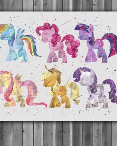 My little Pony Watercolor Print, LittlePony Art, Animal Art, Pony Art, Nursery, Kids Room Decor, Wall Art