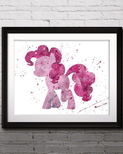 My little Pony Watercolor Print, Pinkie Pie, LittlePony Art, Animal Art, Pony Art, Nursery, Kids Room Decor, Wall Art