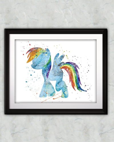 My little Pony Watercolor Print, Rainbow Dash, Pony Art, Animal Art, Pony Art, Nursery, Kids Room Decor, Wall Art