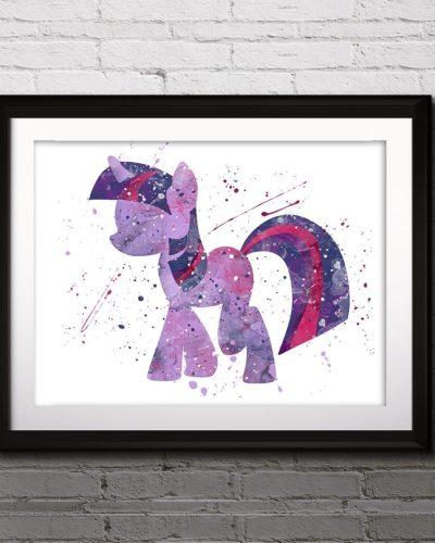 My little Pony Watercolor Print, Twilight Sparkle, Pony Art, Animal Art, Pony Art, Nursery, Kids Room Decor, Wall Art