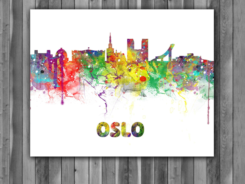 ... Kids Room Decor, Wall Art. Oslo Skyline Watercolor Print, Oslo Skyline  Art, Oslo Skyline Painting, Oslo Skyline Poster