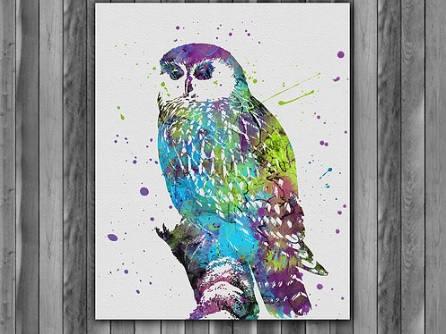 Owl Watercolor Print Art Painting Animal Nursery Kids Room Decor Wall