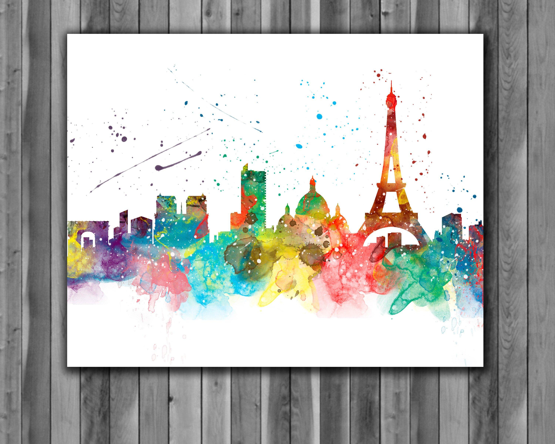 Paris Skyline Watercolor Print, Paris Skyline Art, Paris Painting, Paris  Poster, Paris France, Living Room, Nursery, Office Room, Wall Art