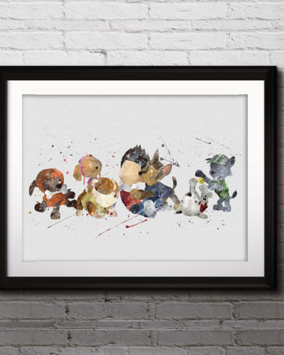 Paw Patrol Watercolor Print, Ryder Paw Patrol Art, Animal Art, Dogs Art, Nursery, Kids Room Decor, Wall Art