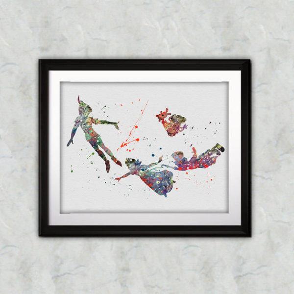 Peter Pan Watercolor Print, Peter Pan Disney Art, Peter Pan Painting, Disney Art, Nursery, Kids Room Decor, Wall Art