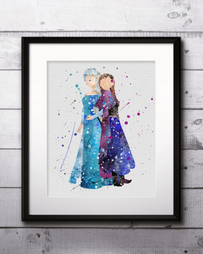 Princess Anna and Queen Elsa Watercolor Print, Frozen Disney Art, Princess Art, Disney Art, Nursery, Kids Room Decor, Wall Art