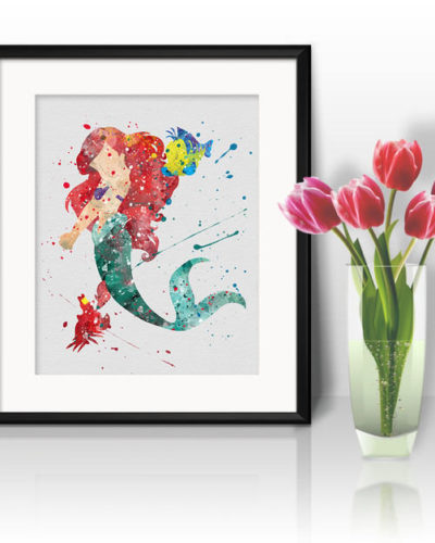 Princess Ariel Watercolor Print, Ariel Disney Art, Little Mermaid, Princess Art, Disney Art, Nursery, Kids Room Decor, Wall Art
