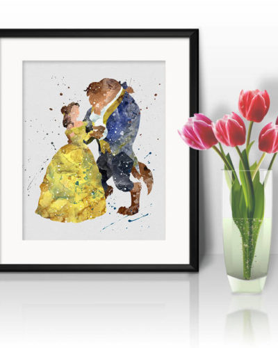 Princess Belle and the Beast Watercolor Print, Belle Disney Art, Princess Art, Disney Art, Nursery, Kids Room Decor, Wall Art