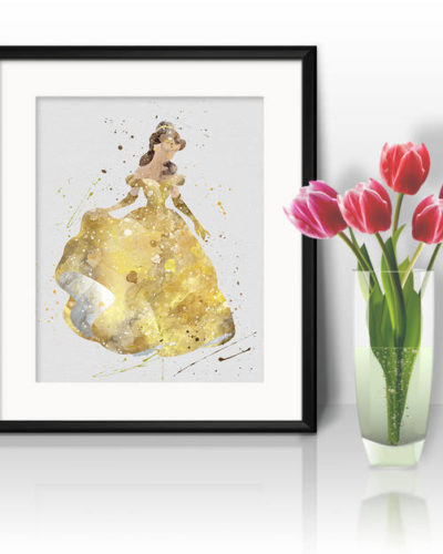 Princess Belle Watercolor Print, Belle Disney Art, Princess Art, Disney Art, Nursery, Kids Room Decor, Wall Art
