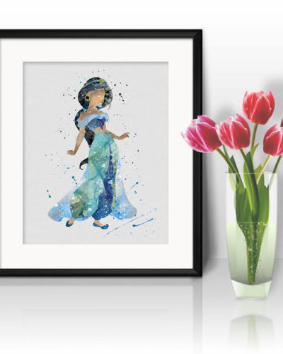 Princess Jasmine Watercolor Print, Jasmine Disney Art, Princess Art, Disney Art, Nursery, Kids Room Decor, Wall Art