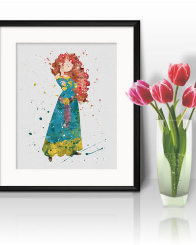 Princess Merida Watercolor Print, Merida Disney Art, Princess Art, Disney Art, Nursery, Kids Room Decor, Wall Art