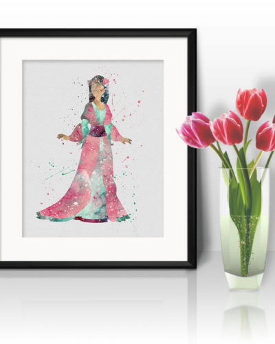 Princess Mulan Watercolor Print, Mulan Disney Art, Princess Art, Disney Art, Nursery, Kids Room Decor, Wall Art