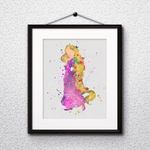 Princess Rapunzel Watercolor Print, Rapunzel Disney Art, Rapunzel Painting, Princess Art, Disney Art, Nursery, Kids Room Decor, Wall Art